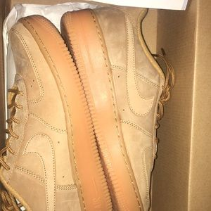 Khaki colored suede Nike Air Force ones